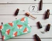 Essential Oil Case, Essential Oil Bag - Fox Happy Camper - cosmetic bag zipper pouch essential oil storage, oils clutch