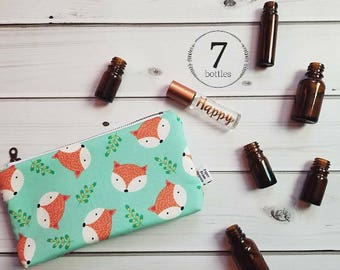 Essential Oil Case - Fox Happy Camper - cosmetic bag zipper pouch essential oil bag