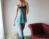 sheer pajama set including lace trimmed capri pants and babydoll - CUPID - sheer mesh lingerie range - made to order