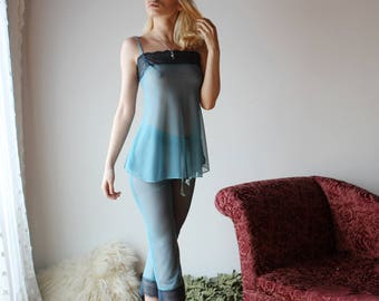 sheer pajama set including lace trimmed capri pants and babydoll - CUPID - sheer mesh lingerie range - made to order