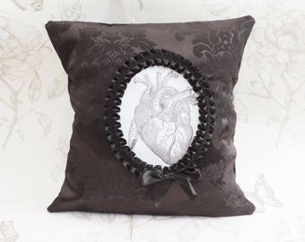 Gothic anatomiical heart pillow-gothic victorian- gothic cameo pillow- goth cushion- macabre-gothic home decor-halloween