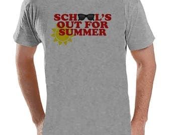 Teacher Shirts - School's Out For Summer - Teacher Gift - Teacher Appreciation Gift - Red Sunglasses Summer Shirt - Men's Grey T-shirt