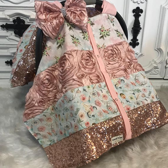 Ready to ship , car seat canopy / nursing cover / carseat cover / carseat canopy / ooak / sequin / infant car seat cover / gold / sparkle