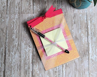 Post it Note Holder, Acrylic Memo Note Holder, Pink and Orange Post It Note Holder, Teacher Gift, Women's Gift, Matching Pen, Stationery