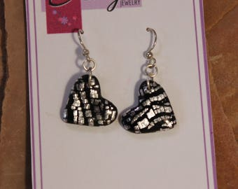 Heart Dangle Earrings, Black and Silver // Valentine's Gift for Her // One of a Kind Handmade