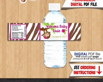 Custom MadeToOrder PERSONALIZED Monkey baby shower water bottle labels / girl hot pink and zebra print / Printable PDF file