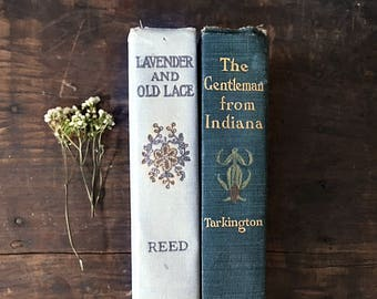 Antique Hardcover Books, Vintage Novels, Blue Books, Floral Book Cover, Lavender and Old Lace, Gentleman from Indiana