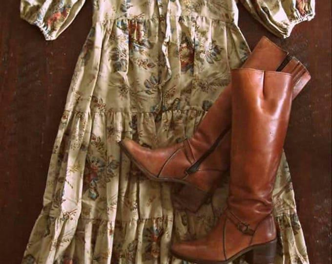 Vintage 70s Bohemian dress / Boho Prairie style floral dress / Hippie Folk dress