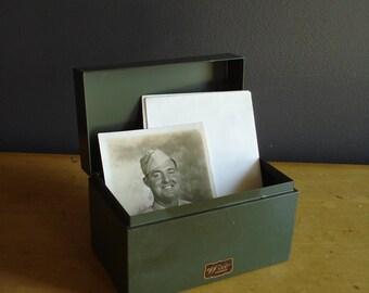 Vintage Army Green Metal Weis Index Card Box - Metal Card or Recipe File Box