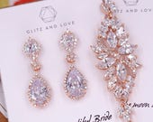 Rose Gold Wedding Bride Bridesmaid Gift Bridal Earrings Bracelet Jewelry Set Clear Cubic Zirconia Teardrop Earrings E316 B86 B87
