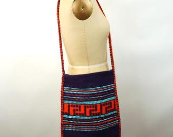 Hand woven bag Made in Greece wool purple orange boho hippie bag ethnic