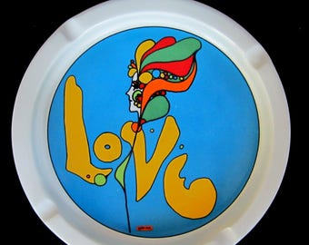 """Pop Art PETER MAX Vintage """"Love"""" Iroquois 10"""" Ashtray Psychedelic 1960s Syracuse China"""