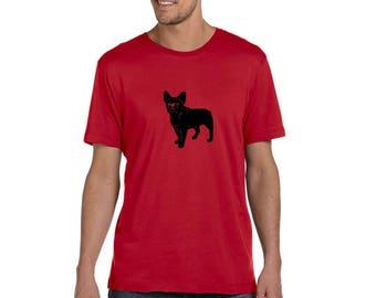 French Bulldog Shirts For Men, Men's Frenchie Shirt, Dog Lover, Cotton Crewneck Unisex Tshirt, Hand Screenprinted, Gifts for him, Christmas
