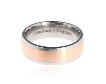 Copper Ring Titanium Wedding Ring Copper Inlay Ring Titanium Wedding Band Titanium Wedding Ring Copper Jewelry Wedding Ring: 7HR14G-Copper