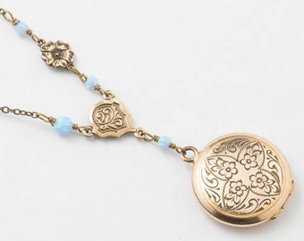 Locket Necklace, Gold Filled Locket, Flower & Leaf Engraving with Blue Opal and Flower Charm on Beaded Chain, Wedding Gift, Vintage Jewelry