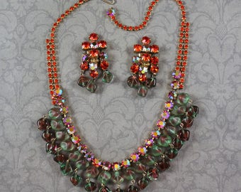 Vintage Orange and AB Finished Rhinestone and Watermelon Glass Beaded Necklace and Earrings Set
