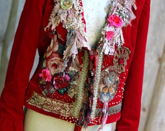 Scarlett  jacket - ornate romantic jacket, bohemian glamour,  altered couture, embroidered and beaded details