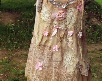 Nostalgia top in blush and cream--  shabby chic whimsy bohemian top, antique embroidery, reworked