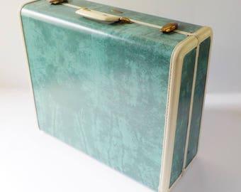 Vintage Samsonite Suitcase Green Marbleized • Suitcase Mid Century Luggage