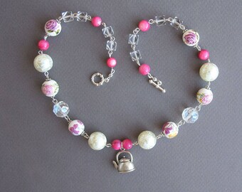 Pink 5 O'clock Tea Short Necklace Fancy Fun English Tea Porcelain Crystal Teapot Teatime Short Necklace Tea Party Kettle Pendant