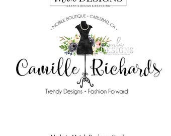 Dress Form Logo, Mannequin Dress Form,  Premade Logos, Dress Logo, Boutique Logo, Premade Logo, Dress Shop, Mobile Boutique Logo,