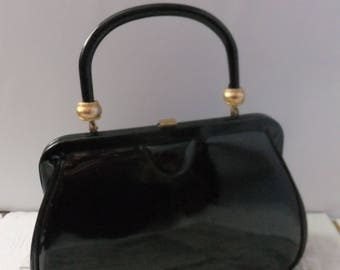 Vintage Handbag Purse Black Patent Leather Solid Top Handle Verdi Gold Tone Hardware Footed Shiny Retro