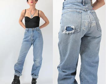80s 90s Wrangler Jeans Patches Patchwork Jeans Vintage Ripped Denim Thrashed Faded Holes Trashed Worn In Womens Grunge Jeans (L) E10031
