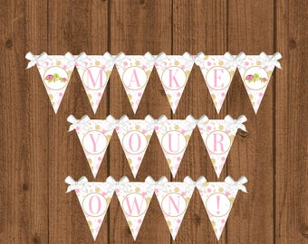 Turtle Banner, Turtle Birthday Party, Pink and Gold Birthday Banner, Pink Turtle Banner, Girls Birthday Banner, Instant Download