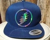 Grateful Dead Lightning Bolt Flat Brim Hat in Black or Navy Blue with Super Reflective Writing and Snap Back Fit