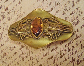 Outstanding Large Sash Brooch with ornate embellishment and gorgeous Marquis golden Topaz stone