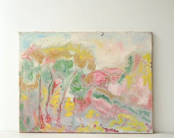 Modern Abstract Landscape Painting, Pink Trees Painting