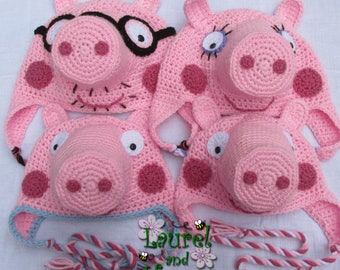 Peppa Pig (& Family!) Inspired Hats - Made-to-Order