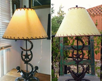 """Vintage 27"""" Handmade Rustic Horseshoe Western Star & Spurs Lamp w/Tan Laced Shade ~ Needs Repair/Replacement Toggle Switch ~ Cabin Decor ~"""