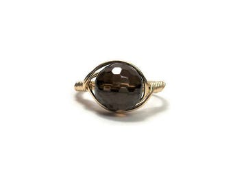 LG Faceted Smokey Quartz Ring 14k Yellow Gold Fill Wire Wrapped Ring