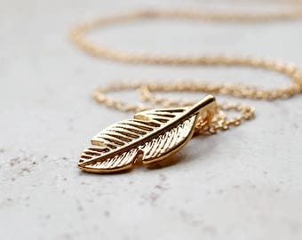 Tiny Gold Feather Necklace, Small Golden Charm, Whimsical Boho Jewelry