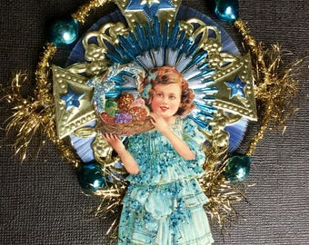 Vintage Look Easter Girl Ornament-Vintage 1900's German Postcard Girl W/Eggs,German Dresdens,Tinsel,Spun Glass Comet,Vtg Glass Bead