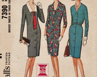 McCalls 7390 / Vintage 60s Sewing Pattern / Dress / Size 16 Bust 36