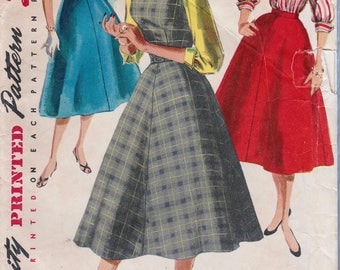 Simplicity 1246 / Vintage 50s Sewing Pattern / Dress Jumper Skirt Blouse / Size 18 Bust 36