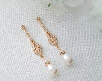 Art Deco Bridal Earrings Vintage Style Wedding Earrings Rose Gold Earrings Bridal Jewelry Long Pearl Earrings Crystal Bridal Earrings, Lisa