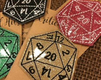 D&D Gift D20 Pin of Critical Hits Gamer Pin Tabletop Game Pin