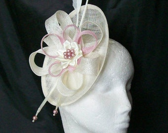 Cream Ivory & Pale Sugar Pink Pastel Pandora Saucer Sinamay Loop Feather Pearl Fascinator Headpiece Wedding Derby Ascot- Made to Order