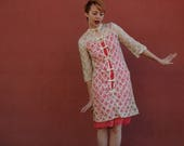 Lace Dress... Dress with Bows... Sheer Lace Dress... 60s Dolly Bird Dress... Party Dress... Cute Dress... 60s Vintage Dress
