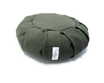 Buckwheat Zafu for Mediation made with Hemp Fabric- Evergreen
