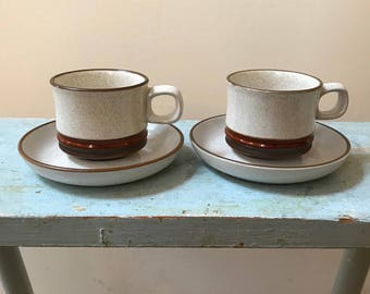 70s Denby Potters Wheel 2 Cups \u0026 2 Saucers England Midcentury Modern Rust Circles Brown Border & Mod midcentury tea | Etsy