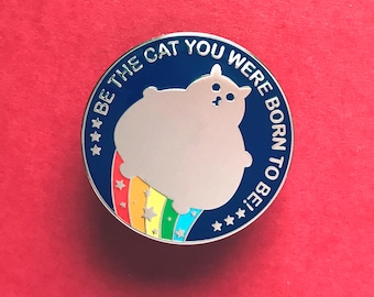 Cat Pin - Fat Cat Enamel Badge - Lapel Pin - Cat brooch - Fat Kitty - Rainbow Cat Brooch - Cat Pin - pin - Hard Enamel Cat Brooch