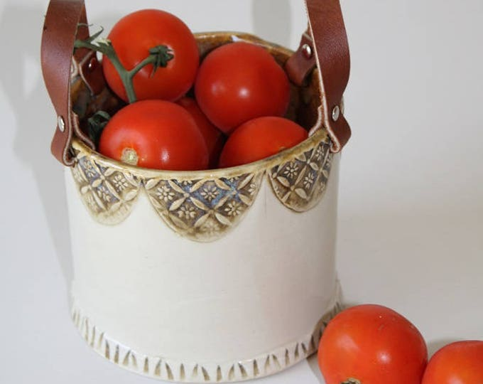 Featured listing image: Ceramic Basket with re-purposed leather handles
