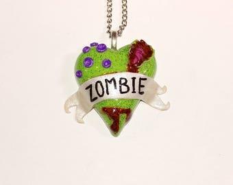 Zombie Heart Necklace Set. Brains, walking dead, living dead, horror, alternative.