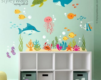 Underwater Wall Decals Aquarium Wall Art Underwater Sea - Underwater wall decals