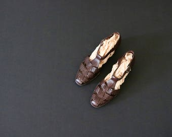braided chocolate leather flats / 10 n