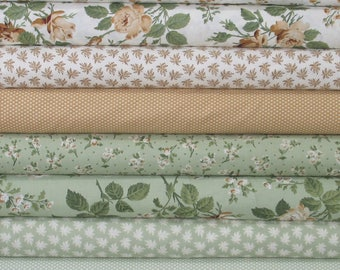 WEEKLY SPECIAL & Free Shipping! Eight 1/4 Yard Cuts of Floral Fabrics from Whistler Studios, Brown, Tan, White, Green, Shabby Cottage Chic
